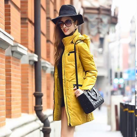 梦娜世家女中长款修身韩版羽绒服时尚修身款1068
