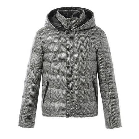 梦娜世家冬轻薄休闲时尚黑白纹保暖短款羽绒服A03