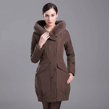 梦娜世家毛领保暖加厚修身显瘦90绒羽绒服18180