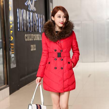 梦娜世家2016女士新款韩版修身毛领中长款羽绒服28120