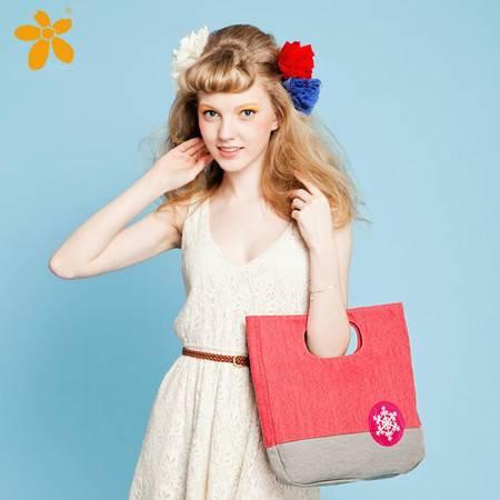宝包包饰包邮牛津布横款方形欧美风范雪花装饰时尚手提包女包帆布包