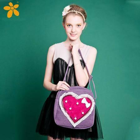 宝包包饰包邮棉布圆形可爱浪漫复古心形时尚单肩手提斜挎包女包帆布包