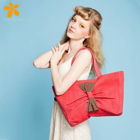 宝包包饰包邮牛津布横款方形法国浪漫蝴蝶结时尚单肩手提包女包帆布包