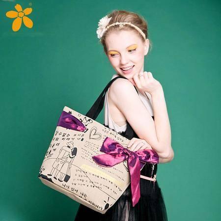 宝包包饰包邮棉布梯形优雅蝴蝶结随性涂鸦时尚手提单肩包女包帆布包