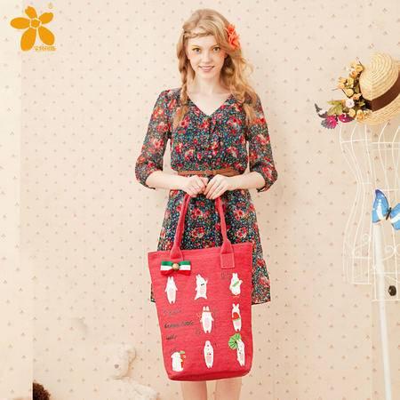宝包包饰包邮麻布竖款方形优雅蝴蝶结可爱萌兔时尚单肩手提包女包帆布包