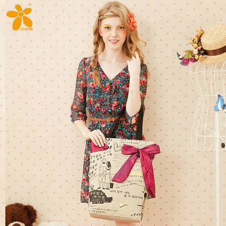 宝包包饰包邮麻布梯形优雅蝴蝶结随性涂鸦时尚单肩手提包女包帆布包