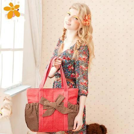 宝包包饰包邮麻布横款方形优雅蝴蝶结灵动波点时尚拼色单肩手提包女包帆布包