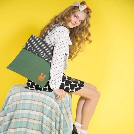 宝包包饰包邮棉麻混纺竖款方形韩版拼色时尚波点可爱兔子单肩手提包女包帆布包