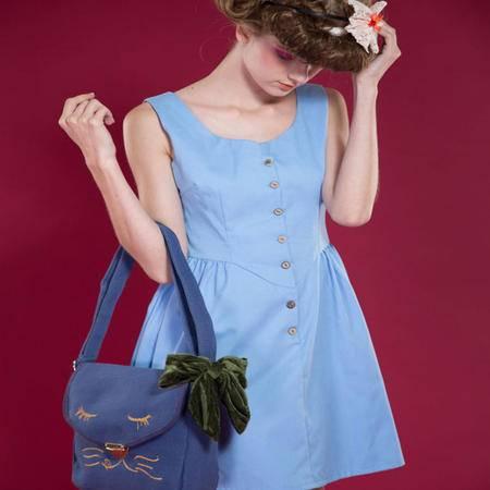 宝包包饰包邮横款方形棉麻混纺可爱猫咪绣花韩版时尚斜挎包单肩包女包