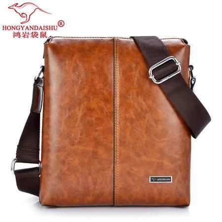 鸿岩袋鼠包邮韩版潮流时尚休闲男士包棕色彩绘包品质iPad单肩包斜跨包男包