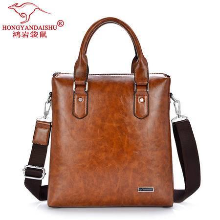 鸿岩袋鼠包邮男士商务手提包男包韩版时尚潮流棕色单肩包斜跨包