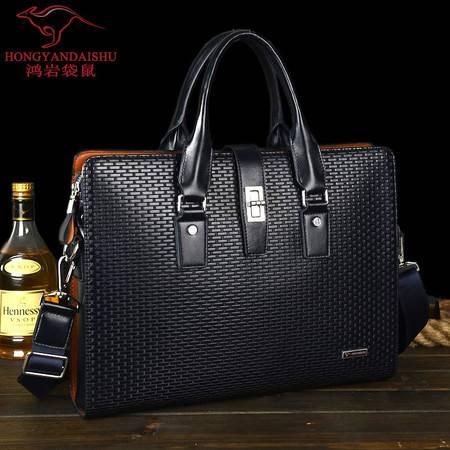 鸿岩袋鼠新款包邮横款韩版时尚格子男士包单肩手提包男包商务包电脑包斜跨包