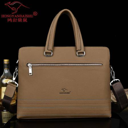 鸿岩袋鼠韩版新款包邮男包时尚休闲商务男士包手提包电脑包包单肩包斜挎包