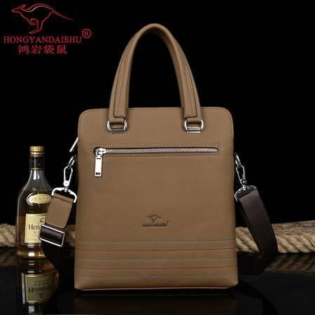 鸿岩袋鼠韩版时尚男包休闲男士包手提包A4文件包单肩包新款商务包包邮