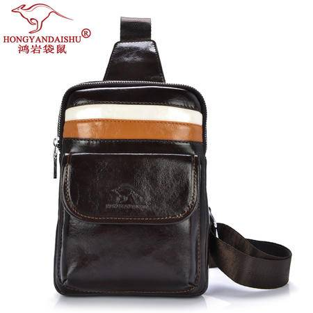 鸿岩袋鼠韩版时尚男士胸包包邮男女腰包小包夏季防水运动包情侣包休闲包