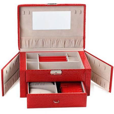 开馨宝欧式可侧开门双层首饰盒-大红色(K8529-1)