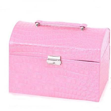 开馨宝欧式经典首饰收纳盒/珠宝盒/化妆盒-粉色鳄鱼纹K8528-2