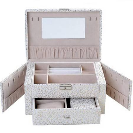 开馨宝 欧式可侧开门方形双层首饰收纳盒/长方白色鳄鱼纹K8529-3