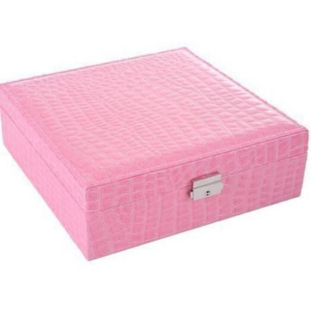 开馨宝多用途首饰收纳盒/手表收纳盒-黑色和粉色鳄鱼纹混发