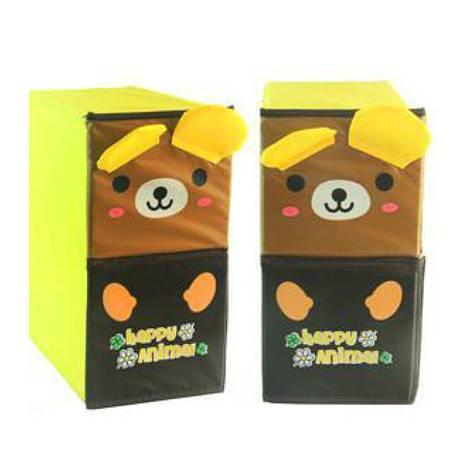 开馨宝可爱动物双层双抽屉储物柜/收纳柜/整理柜咖啡熊