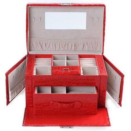 开馨宝欧式可侧开门双层大容量首饰盒/饰品收纳盒-大红色鳄鱼纹(K8528-1)