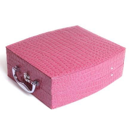 开馨宝欧式双层大容量首饰盒-玫红色鳄鱼纹(K8536-1)