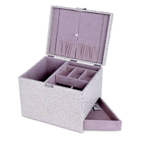 开馨宝 欧式可侧拉大容量首饰盒--白色凹凸纹(K8535-3)