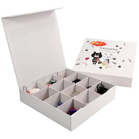 开馨宝韩版小熊12格自由分格带盖收纳盒/首饰盒/抽屉整理盒(K8818)