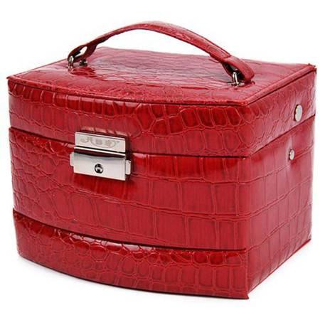 开馨宝 自动式三层首饰收纳盒/饰品盒/化妆盒-大红色(K8519-2)