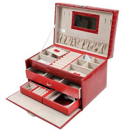 开馨宝高级PU三层大容量首饰盒/饰品收纳盒-大红色(K8521-2)