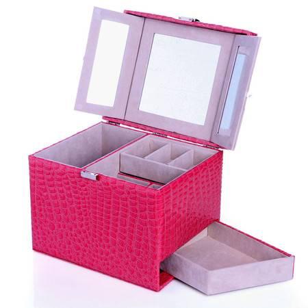 开馨宝 欧式可侧拉大容量首饰盒--枚红色鳄鱼纹(K8535-1)