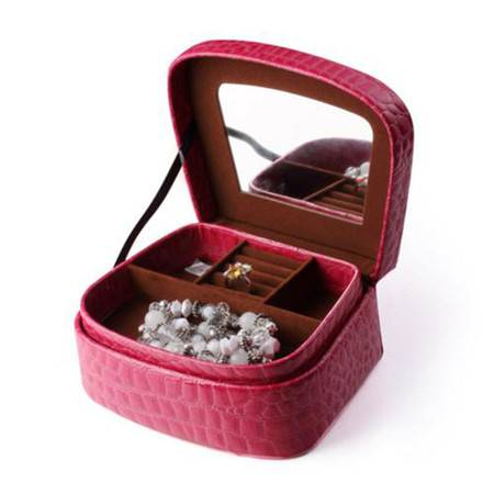 开馨宝中号双层首饰收纳盒/化妆盒/杂物盒-玫红色鳄鱼纹(K8514-1)