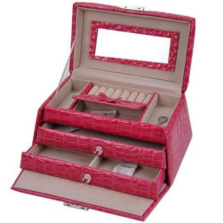开馨宝 梯形PU三层大容量首饰盒/饰品收纳盒-玫红色(K8526-2)