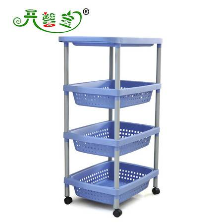 开馨宝 豪华型四层浴室收纳架/多用途置物架-蓝色(K8236-2)KF1101