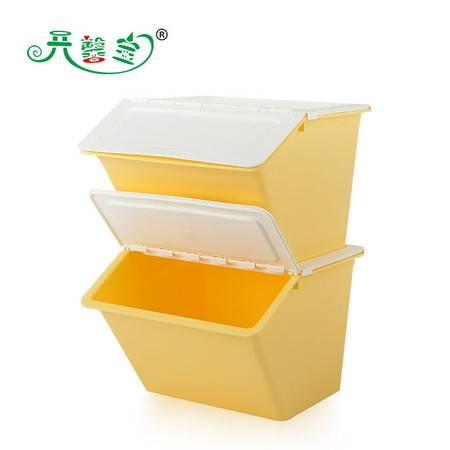 开馨宝 半掀盖多用收纳箱/整理筐-两个装 黄色(K8121-4)CU002