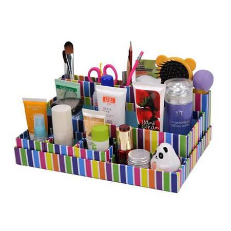 开馨宝 条纹系列化妆品收纳盒桌面收纳盒桌面储物盒