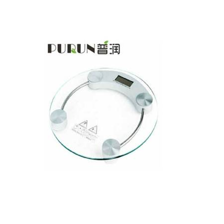 普润 26cm钢化玻璃电子称 圆形玻璃称 健康秤