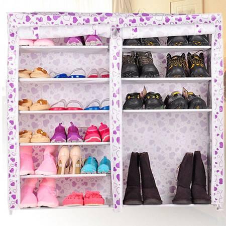 普润 双排七层防水防尘印花柜简易组合鞋柜收纳储鞋架