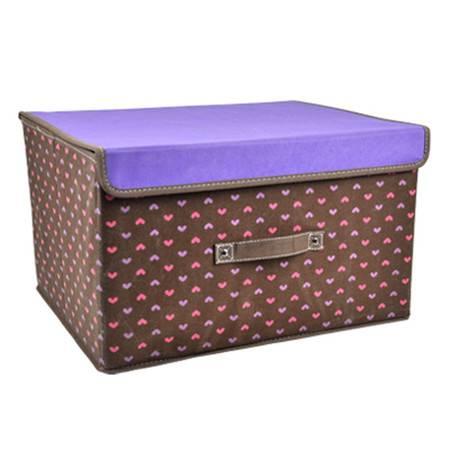 优芬美人心有盖收纳箱 创意衣物整理箱储物箱衣物收纳盒38*25*25cm颜色随机