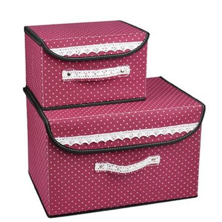 优芬 小布点收纳箱两件套日式收纳盒无纺布储物箱红色