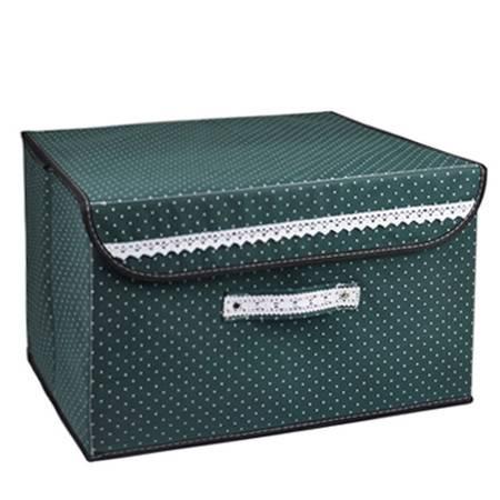 优芬彩色扣扣收纳箱日式收纳盒无纺布储物箱37*25*25cm绿色