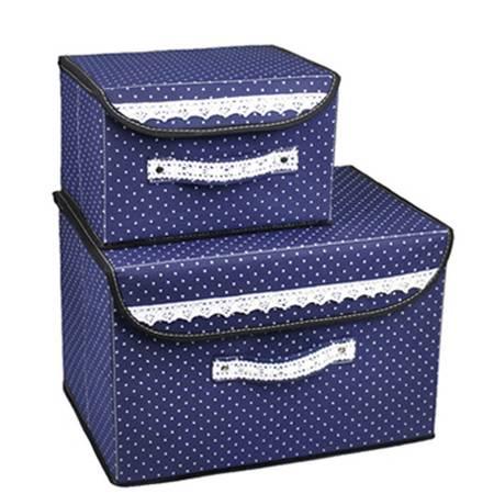 优芬 小布点收纳箱两件套日式收纳盒无纺布储物箱