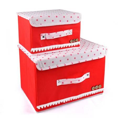 优芬彩色大小两件套扣扣收纳箱日式收纳盒无纺布储物箱红色白盖