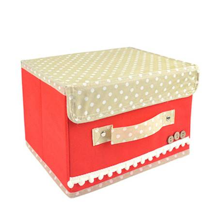 优芬彩色扣扣收纳箱日式收纳盒无纺布储物箱25*20*17cm红色