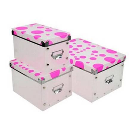 耀点100 精品整理盒三件套 多功能金属边环保PP有盖收纳盒 粉色圆圈