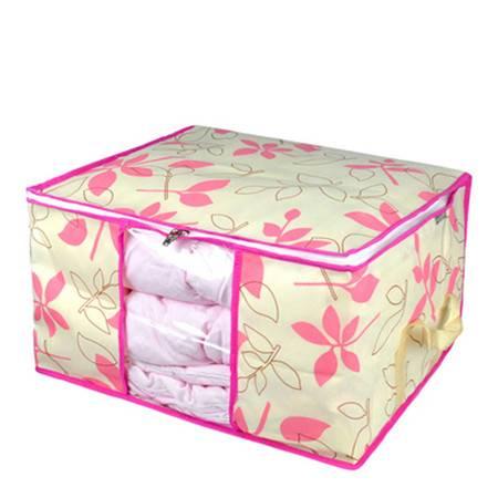 优芬 三只装 叶之韵软收纳箱100L 透明视窗 衣物棉被收纳箱 防尘收纳袋