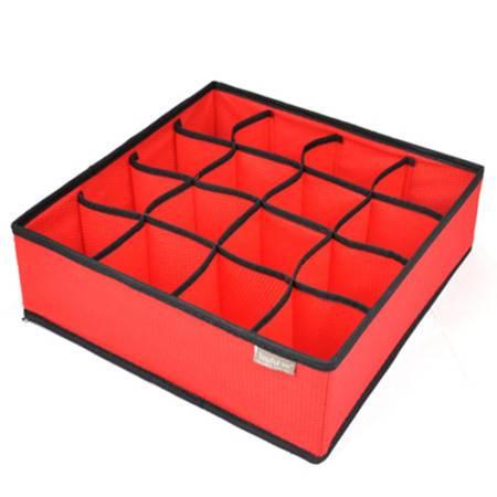 优芬 精品收纳盒 有盖内衣收纳盒16格红色熊头均码