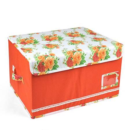 优芬 三只装 泡泡纹收纳箱田园风收纳盒花盖储物箱整理箱储物盒45*35*25cm