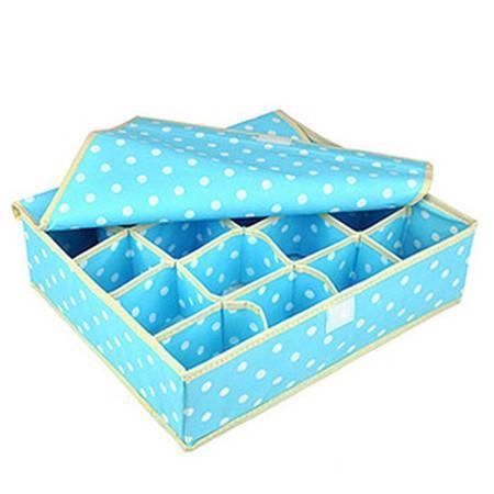 优芬16格有盖收纳盒 袜子内裤内衣抽屉创意收纳盒蓝色圆点
