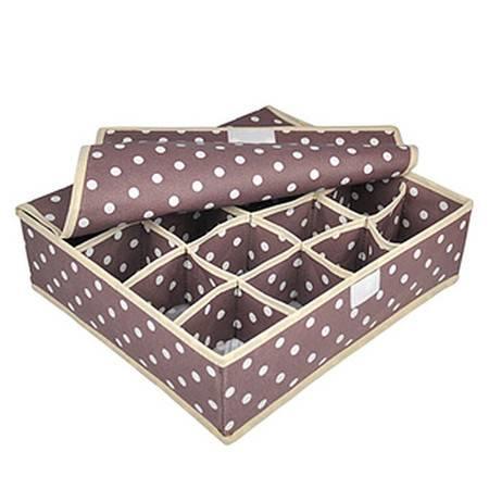 优芬有盖内衣收纳盒16格咖啡圆点内衣收纳盒